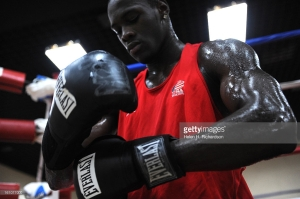 (HR) ABOVE:  The nine members of the US Boxing team and their coaches worked out today at the Beijing Normal University, the United States training facility acting as their Olympic training center. Helen H. Richardson/The Denver Post